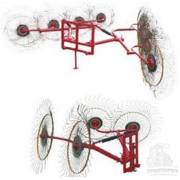 Грабли-ворошилки 2-х крылые колёсно-пальцевые, 4-х дисковые
